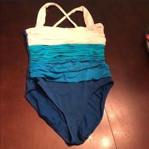 Other - Blue and White Rouched One Piece Swim Suit